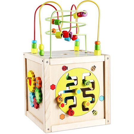 Wood Cube - Classic Toy Wood Multi-Activity Cube with Wheels