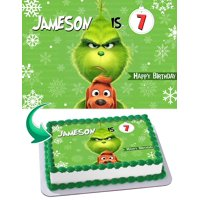 THE GRINCH Christmas - Edible Cake Topper - 11.7 x 17.5 Inches 1/2 Sheet rectangular