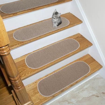 "Ottomanson Escalier Skid-Resistant Rubber Back (Non-Slip) Carpet Stair Treads, 8.5"" x 26"" Oval, Beige, 14 Pack"