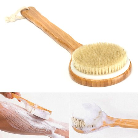 """15.7"""" Bath Brush Natural Bristle Exfoliating Extra Long Handle Shower Brush Wooden Brush Back Body Scrub Scrubber Massager Shower Skin Spa for Shower Cleaning - image 6 of 7"""