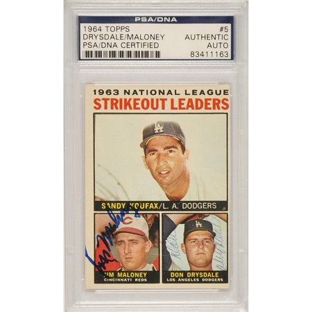 Signed Autograph Card (Don Drysdale & Jim Maloney Brooklyn Dodgers Autographed 1964 Topps Trading Card - PSA/DNA Certified)