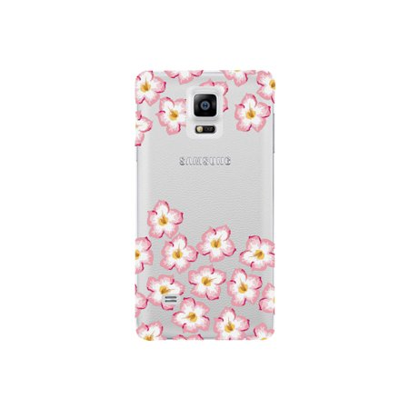 Plumeria Flower Cell Phone Charm - Pink and Yellow Plumeria Flower Cute Floral Pattern Clear Phone Case - For Samsung Note 4 Back Cover