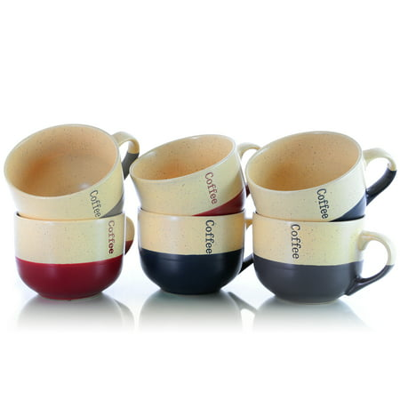 Elama's Latte Cafe Gift Cups 6 Piece Set of 18 oz Large Mugs for Latte, Coffee and Tea - Painted Tea Cup
