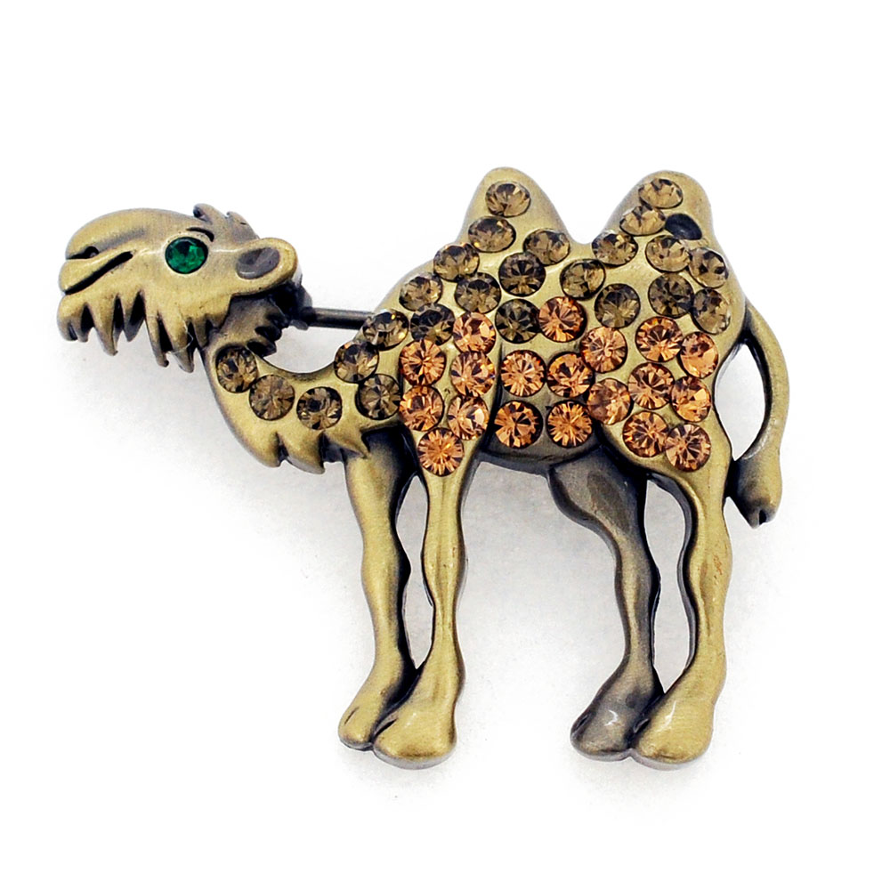 Topaz Brown Camel Crystal Brooch Pin by