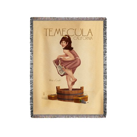 Temecula  California   Pinup Girl Stomping Grapes   Lantern Press Poster  60X80 Woven Chenille Yarn Blanket