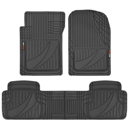 - Motor Trend FlexTough Advanced Performance Mats - 3pc Rubber Floor Mats for Car SUV Auto All Weather Plus - 2 Front & Rear Liner