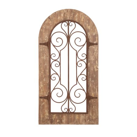 Wooden And Metal Wall Panel With Stately Design & Antiqued Look (Framed Metal Wall Decor)