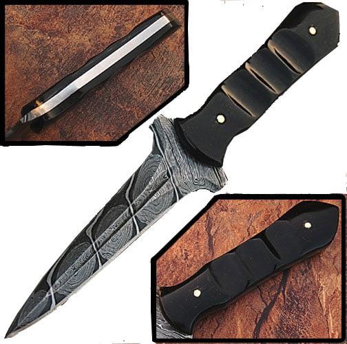 Custom Made Damascus Steel Hunting Knife (Buffalo Horn Handle) by White Deer