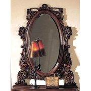 Oval Mirror in Dark Cherry Finish