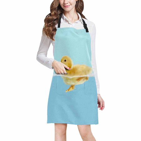 ASHLEIGH Cute Little Yellow Duck Swim in Water Home Kitchen Apron for Women Men with Pockets, Unisex Adjustable Bib Apron for Cooking Baking (Little White Duck Swimming In The Water)
