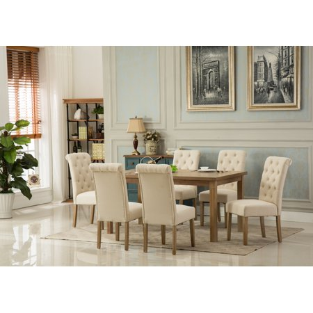 Monotanian 7 Piece Button Tufted Dining Table Set ()