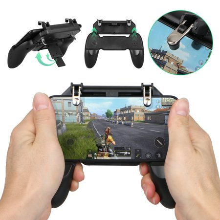 W10 Phone Game Controller, EEEkit PUBG/Fortnite/Rules of Survival Gaming Grip Gaming Joysticks Trigger, for 4.5-6.5inch Android iOS (Best Cheap Gaming Phone)