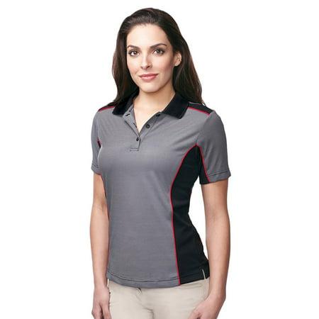 Print Striped Polo Shirt (Tri-Mountain Women's Contrast Stitch Stripe Polo Shirt)