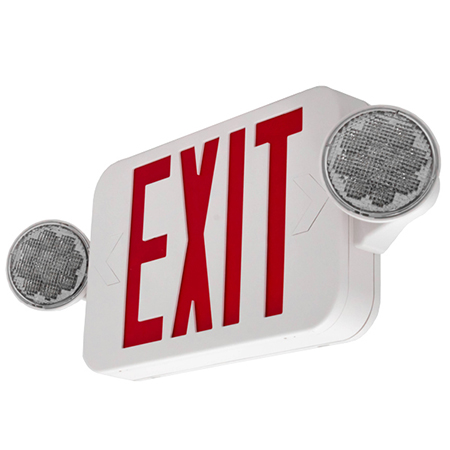 LFI Lights - Hardwired Red Compact Combo Exit Sign Emergency Egress Light - High Output - COMBORJR2