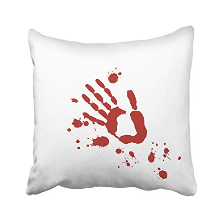WinHome Bloody Hand Print Blood Spatter Halloween Props Throw Pillow Covers Cushion Cover Case 18x18 Inches Pillowcases Two Side (Easy Halloween Handprint Crafts)