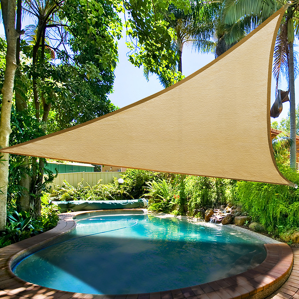 16.5u0027 Triangle Sun Shade Sail Patio Deck Beach Garden Yard Outdoor Canopy  Cover Uv Blocking