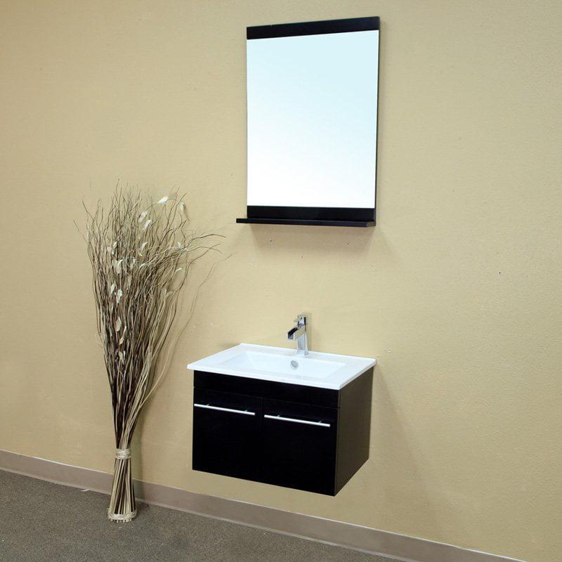 Bellaterra Parma 23.6-in. Black Single Bathroom Vanity with Optional Mirror