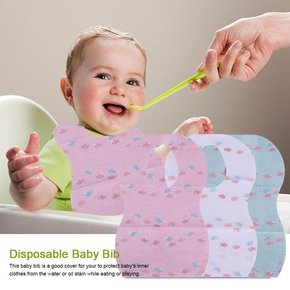 Dilwe 10Pcs Waterproof Disposable Baby Bibs with Large Pocket for Easy Feeding Eating, Disposable Baby Bib, Baby Feeding Bib