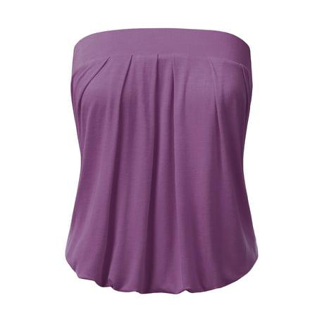 08d1d8fb54 Doublju Women s Basic Strapless Cami Tube Top PURPLE S