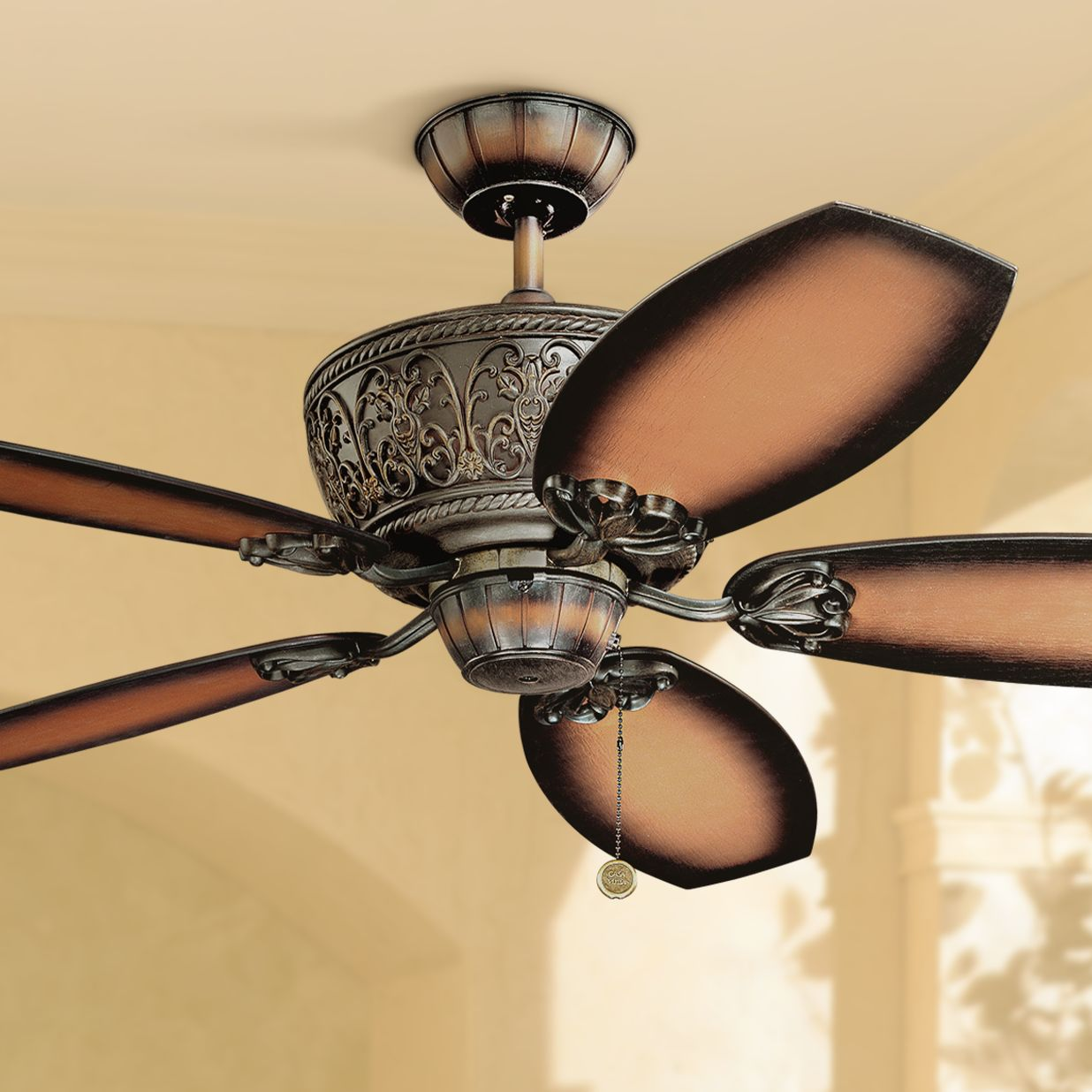 """52"""" Casa Vieja Classic Vintage Outdoor Ceiling Fan Dark Walnut Damp Rated for Patio Porch"""