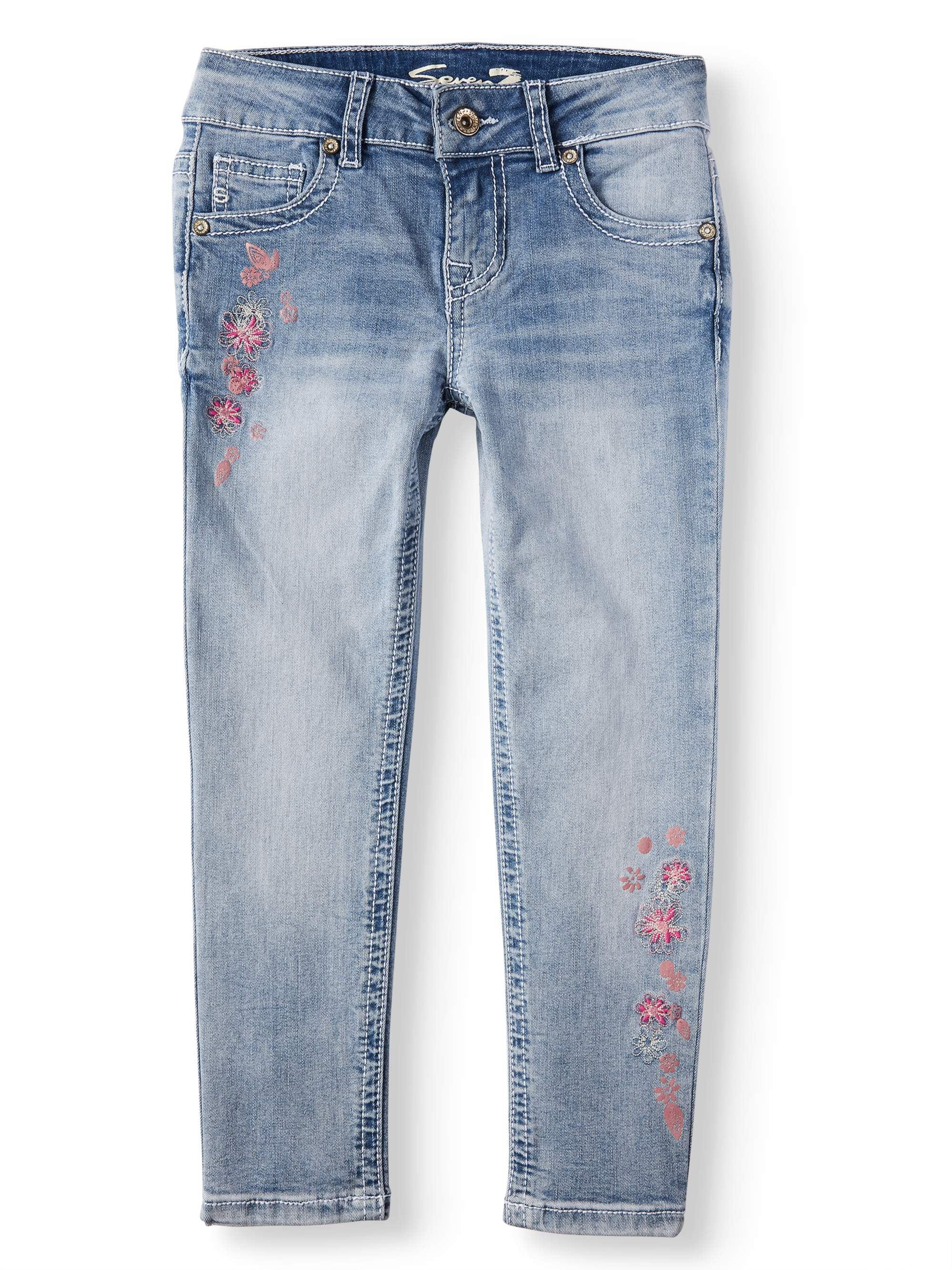 Embroidered Floral Ankle Skinny Jean (Big Girls)