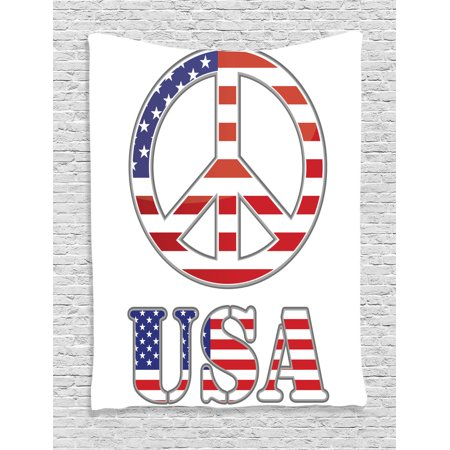 Groovy Decorations Wall Hanging Tapestry, Modern Peace Sign With Usa Flag Color Design Hippie Freedom No War Symbol Theme, Bedroom Living Room Dorm Accessories, By Ambesonne