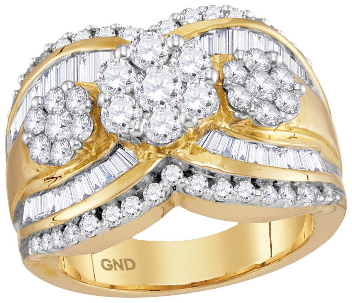 14kt Yellow Gold Womens Round Diamond Triple Flower Cluster Bridal Wedding Engagement Ring 2.00 Cttw by Brilliant Bijou