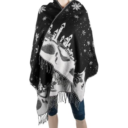 Aerusi Men or Women's Reversible Snow Village Blanket Cashmere Scarf Wrap Oversized Shawl with Fringes