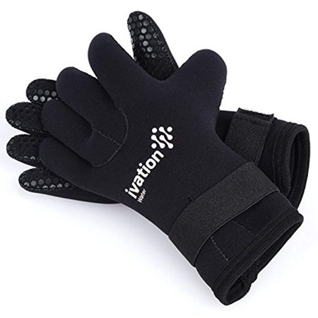 Ivation Wetsuit Gloves - 3mm Diving Gloves Premium Neoprene Five Finger Diving Gloves for High-Performance Watersports. Great for Water, Beach, Swimming, Diving, Snorkeling, (Finger Wetsuit Gloves)