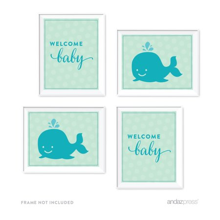 Boy Whale Nautical Baby Shower Party Signs & Graphic Decorations, 4-Pack