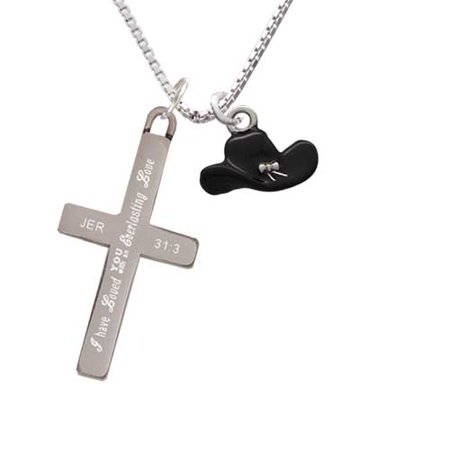 Silvertone Black Cowboy Hat - Everlasting Love - Cross Necklace