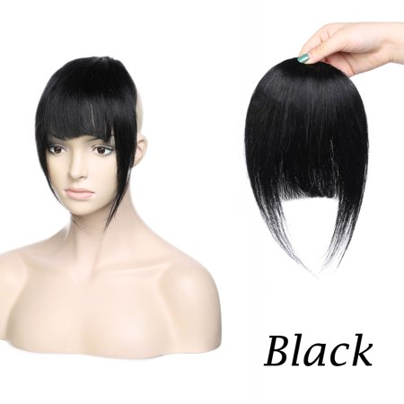 Black Human Hair Extensions (S-noilite 100% Human Hair bangs In Hair Extensions 5 Colors Clip in Bangs Fringe Human Hair Extensions)
