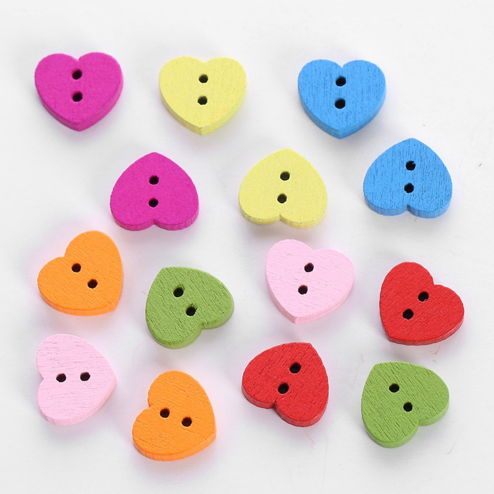 Scrapbooking Arts Heart Shape Button Sewing Buttons Wood Button Apparel Sewing
