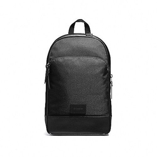 7d2dbf709 ... discount brand new mens coach f37610 black slim nylon and leather  backpack bag 8406c 076e5 ...