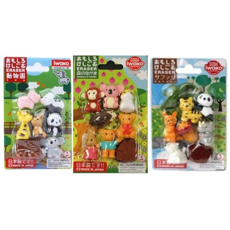 Japanese Erasers   Zoo Animals   Cute Animals  Safari Animals   Total 18 Animals   3 Parts Erasers Value Set With Our Shop Original Product Description