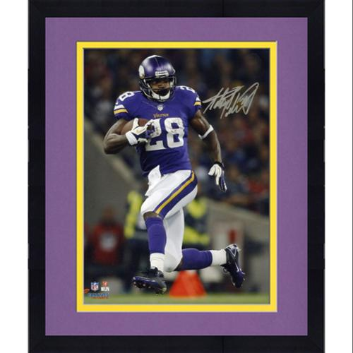 "Framed Adrian Peterson Minnesota Vikings Autographed 8"" x 10"" Vertical Running Photograph - Fanatics Authentic Certified"