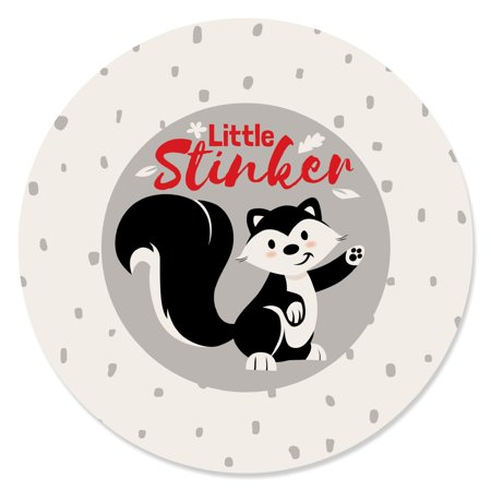 - Little Stinker - Woodland Skunk Baby Shower or Birthday Party Circle Sticker Labels - 24 Count