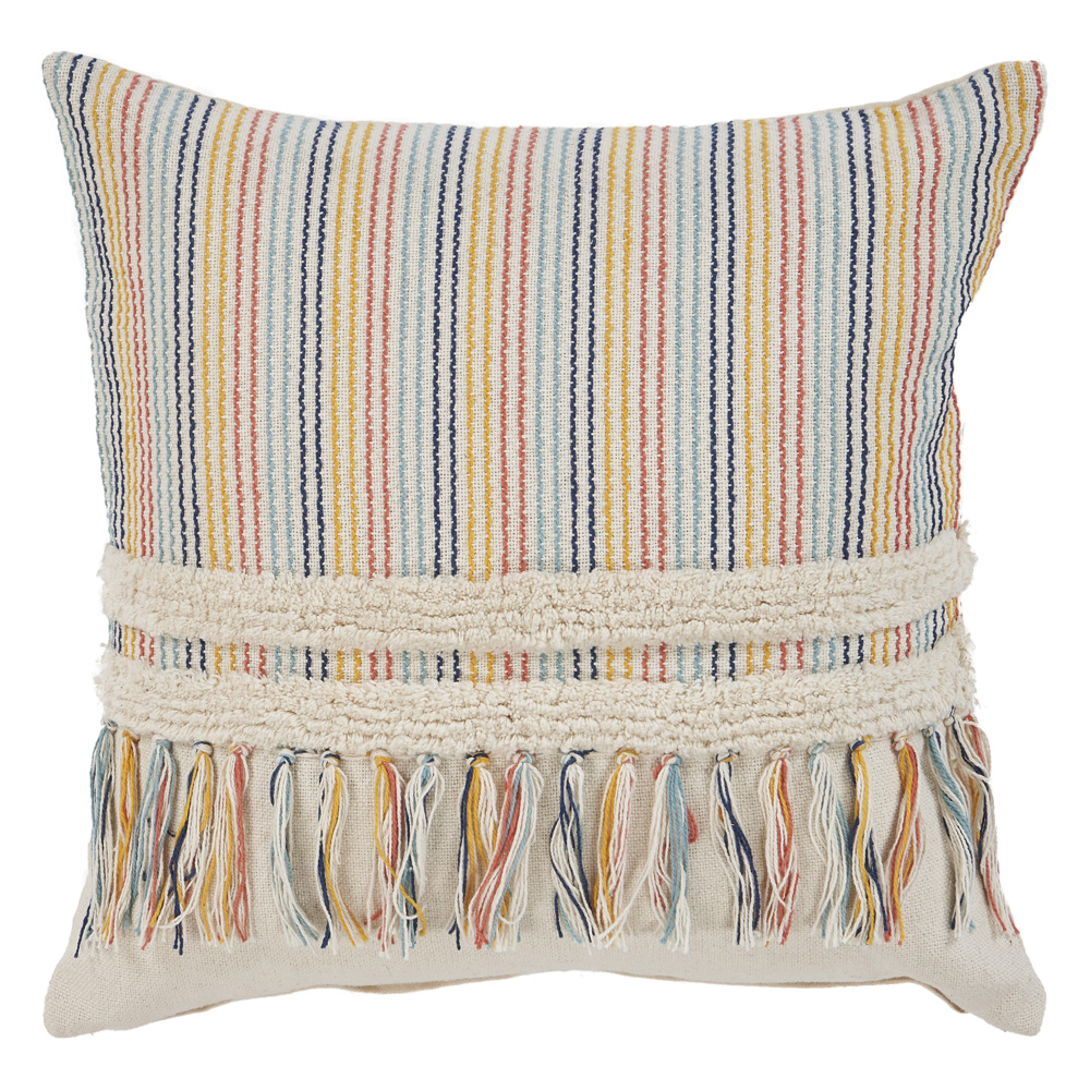 "LR Home Fun With Stripes Fringe Multi Throw Pillow ( 18"" x 18"" )"