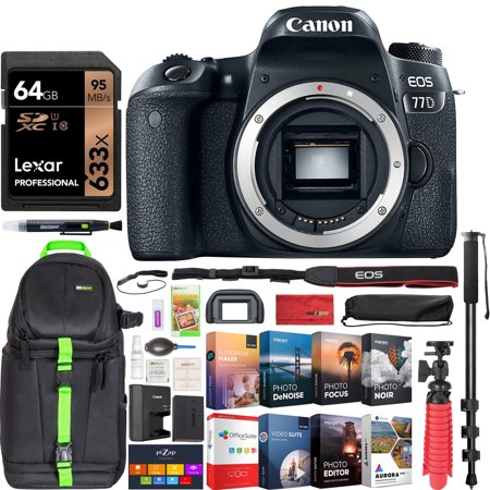 Canon EOS 77D Rebel DSLR Camera Body with Deco Gear Travel Kit Including Professional Backpack + 64GB Memory Card + Monopod + Photo Video Accessory Kit & Software