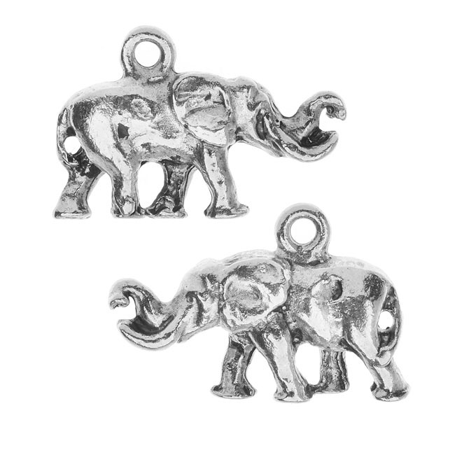 Nunn Design Charm, Elephant with Tusks 14x20mm, 2 Pieces, Bright Silver