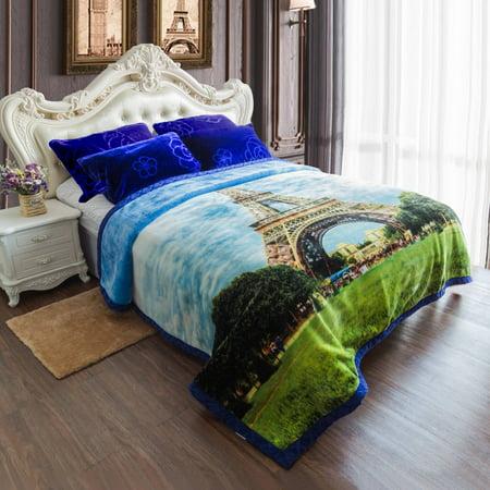 King Size Warm Raschel Blanket Soft Plush Heavy Thick Fleece Blanket For Winter 2 Ply 3D Eiffel Tower Printed Korean Design Bed Mink Blanket 85