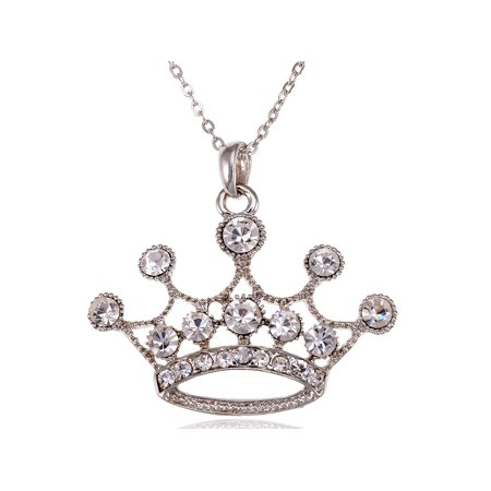 King Queen Clear Crystal Rhinestone Crown Royal Fashion Costume Pendant Necklace