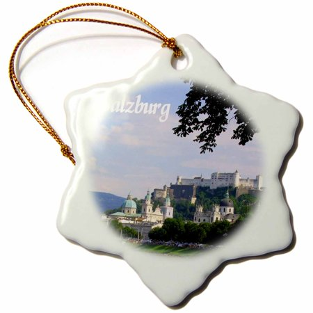 3dRose Salzburg sunny river-side city photography - beautiful cities in Europe - Austria - Austrian towns, Snowflake Ornament, Porcelain, 3-inch