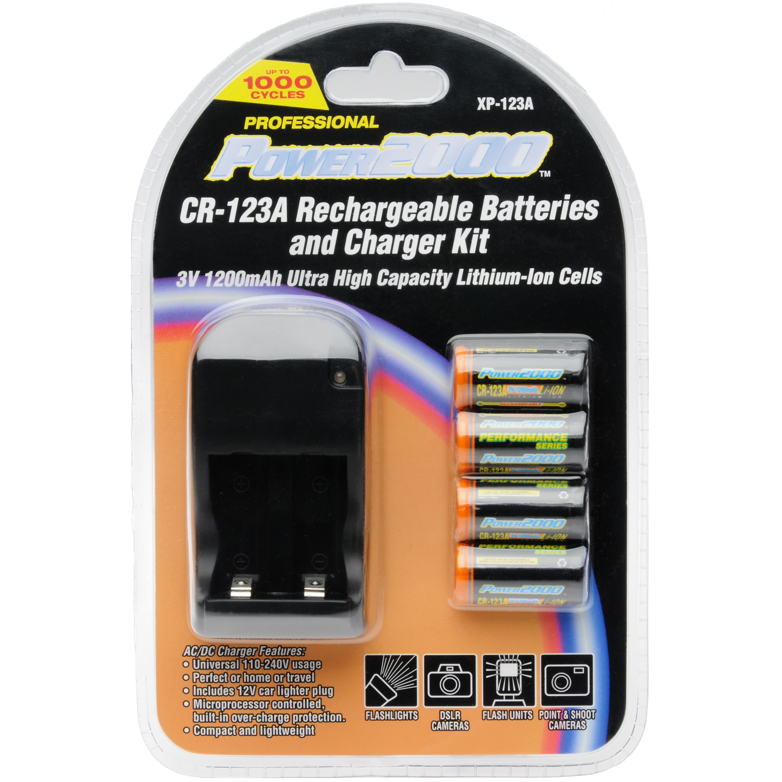 Power2000 XP-CR123A - (4) CR123A Lithium Rechargeable Batteries & 110/220V Rapid Charger