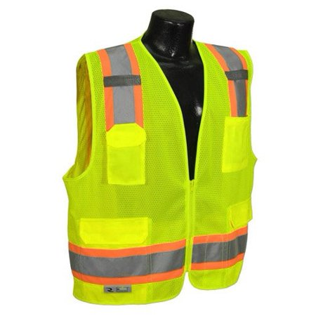 "Surveyor Two Tone Trim Vest With Zipper Closure, 2"" Reflective Striping, Dual Mic Tabs, 8 Pockets Solid Knit Front, Mesh Back High Visibility Green Size 2X-Large By RADIANS"