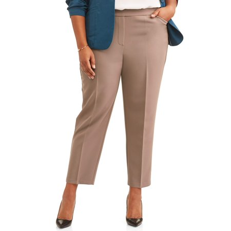 Women's Plus Size Pull On Stretch Woven Ankle Career (Womens Ankle Stretch Pant)