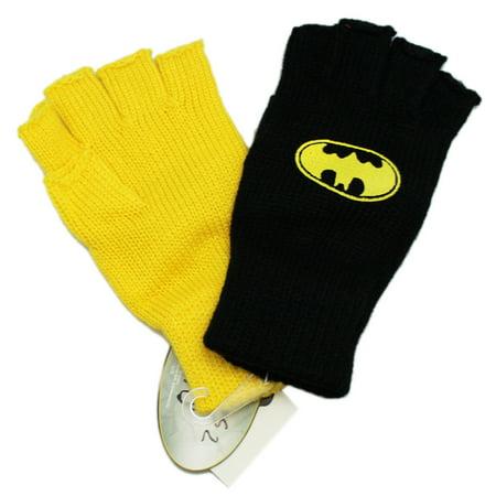 DC Comics Batman Yellow and Black Fingerless Gloves](Batman Gloves)