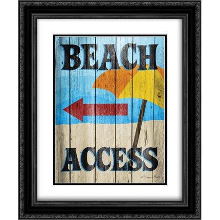 Beach Access 2x Matted 20x24 Black Ornate Framed Art Print by Ball, Susan (Black Beach Ball)
