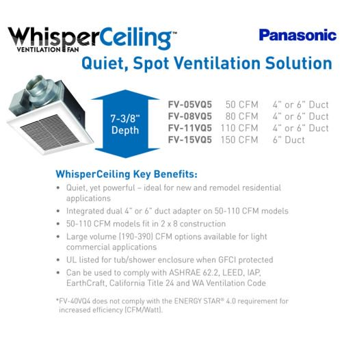 Panasonic Whisperceiling Bathroom Fan 110 Cfm 0 3 Sone A11vq5