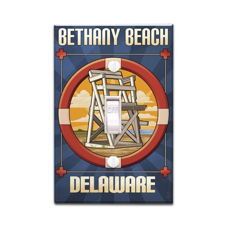 Bethany Beach, Delaware - Lifeguard Chair - Lantern Press Artwork (Light Switchplate Cover)